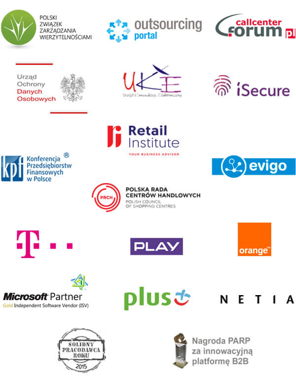 partnerzy biznesowi Tide Software: PZW, Forum Call Center, KPF, UODO, UKE, iSecure, Retail & E-commerce institute, Evigo, PRCH, T-Mobile, Play, Orange, Plus, Netia, Microsoft Partner, Solidny Pracodawca Roku 2015, Nagroda PARP za innowacyjną platformę B2B